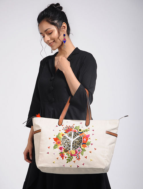 Cream Hand-Embroidered Canvas Tote with Sequin Embellishments
