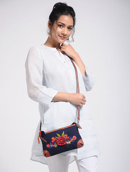 Blue Hand-Embroidered Canvas Pouch with Embellishments
