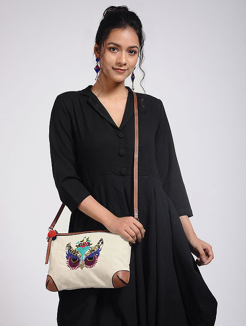 Cream Hand-Embroidered Canvas Sling Bag with Sequin Embellishments