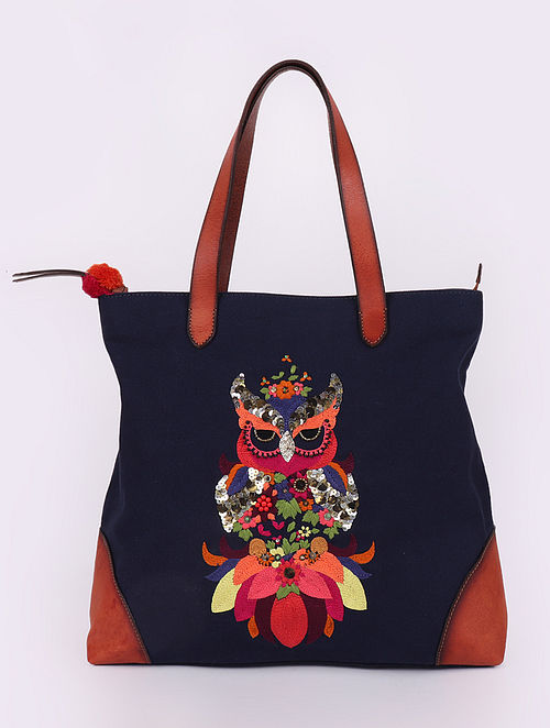 Navy Blue Hand-Embroidered Canvas Tote with Sequins Embellishments