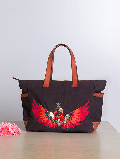 Brown Hand-Embroidered Canvas Tote with Sequins Embellishments