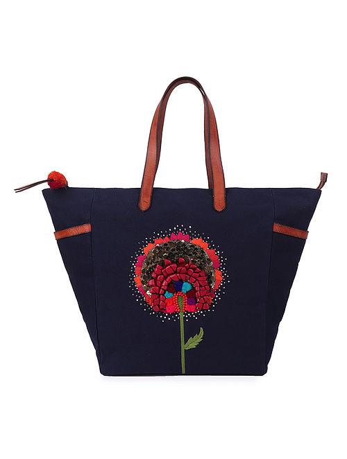 Navy Blue Hand-Embroidered Canvas Tote with Leather Embellishments