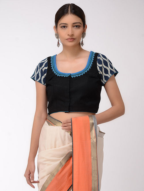 Black-Blue Embroidered and Printed Cotton Linen Blouse