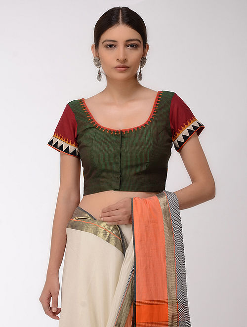 Green-Orange Embroidered Cotton Blouse with Mirror-work