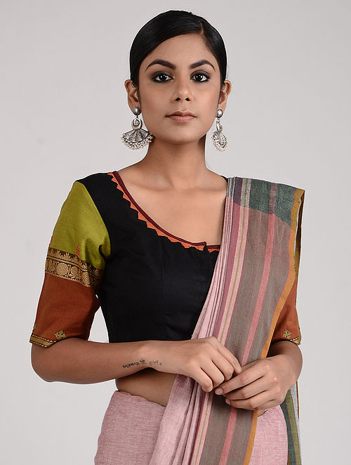 Black-Green Hand-embroidered Linen Cotton Blouse