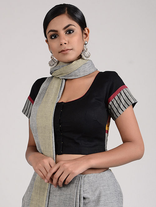 Black-Grey Hand-painted Kalamkari Linen Cotton Blouse
