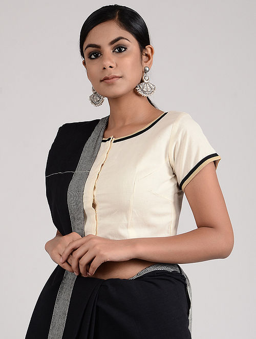 Ivory-Black Hand-embroidered Linen Cotton Blouse