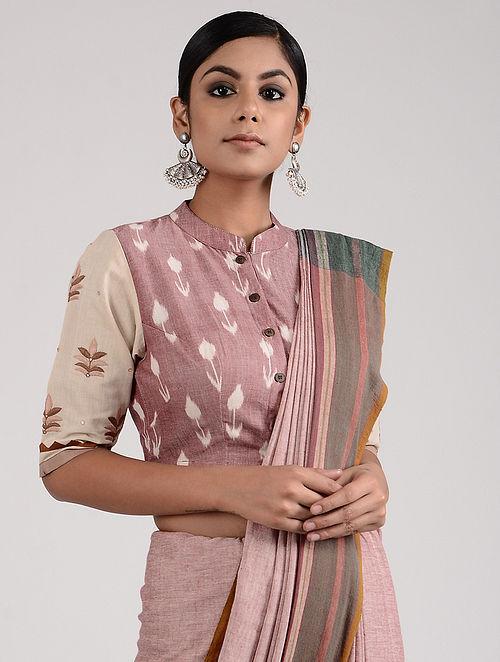 Mauve-Ivory Hand-embroidered Ikat Mangalgiri Cotton Blouse