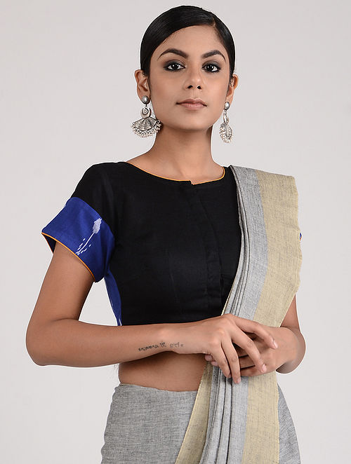 Black-Blue Hand-embroidered Ikat Linen Cotton Blouse