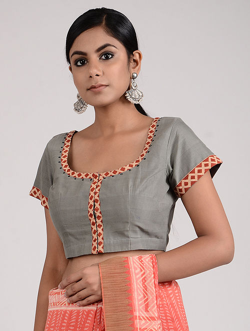 Grey-Red Block-printed and Hand-embroidered Mangalgiri Cotton Blouse