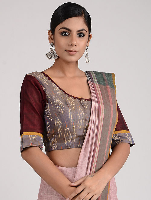 Blue-Maroon Block-printed and Hand-embroidered Mangalgiri Cotton Blouse