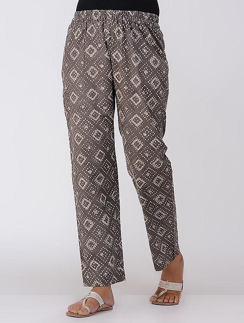 Brown Dabu-printed Elasticated Waist Cotton Pants