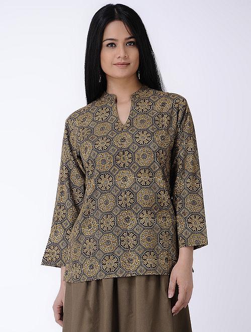 Brown Ajrakh-printed Cotton Top