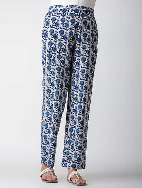 Indigo Dyed Elasticated Waist Cotton Pants