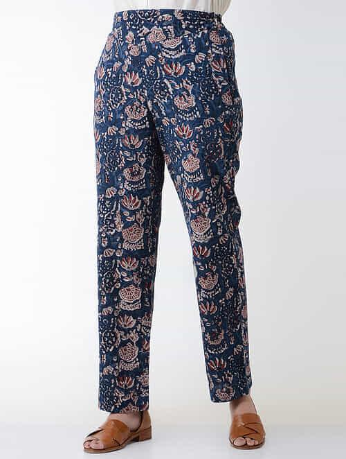 Indigo-Madder Jawata Block-printed Elasticated-waist Cotton Pants