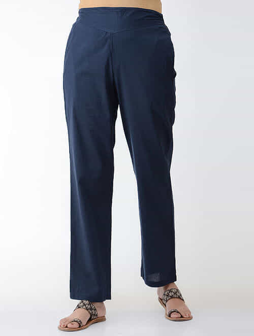 Indigo Elasticated-waist Cotton Pants