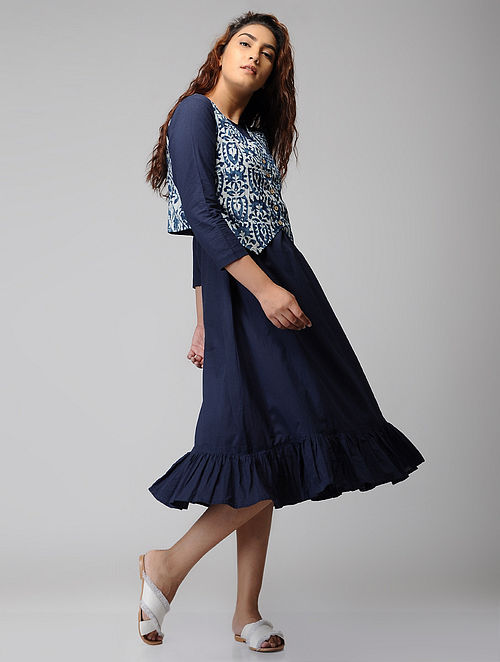 Indigo Block-printed Cotton Dress with Jacket (Set of 2)