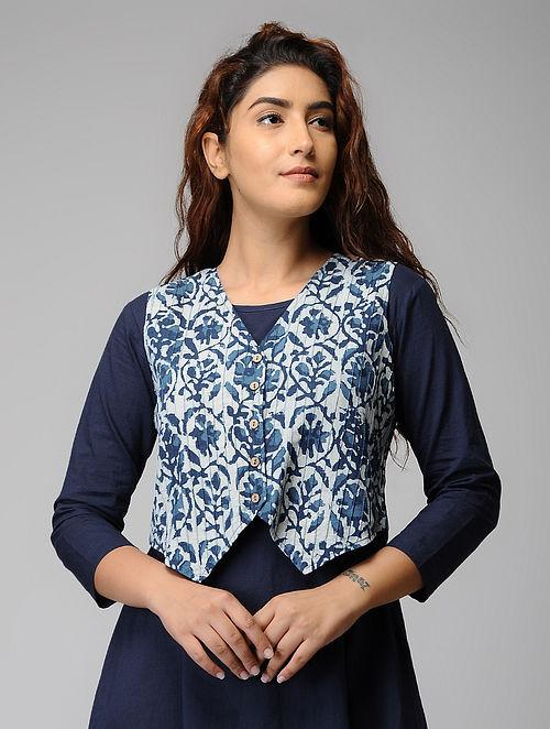 Indigo Block-printed Cotton Jacket
