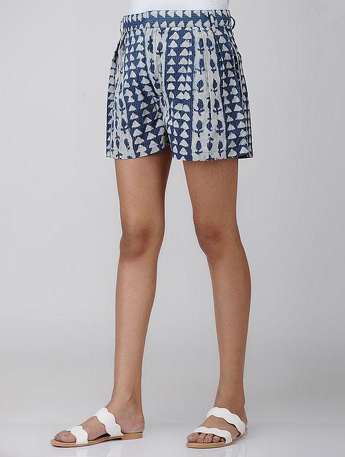 Indigo Block-printed Cotton Shorts