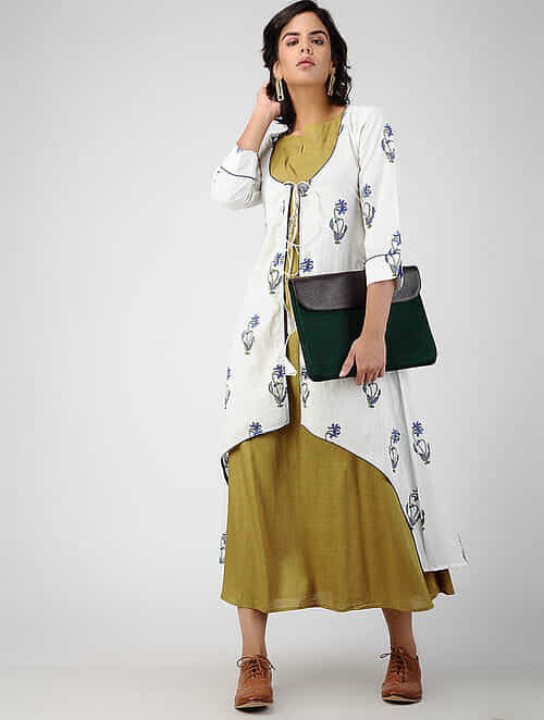 White-Green Block-printed Cotton Cape with Dress (Set of 2)