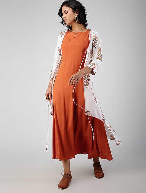 White-Orange Block-printed Cotton Cape with Dress (Set of 2)