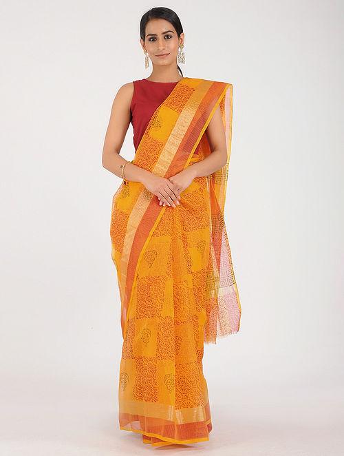 e2cf11589a7795 Yellow-Red Block-printed Kota Doria Saree with Zari Printed Sarees