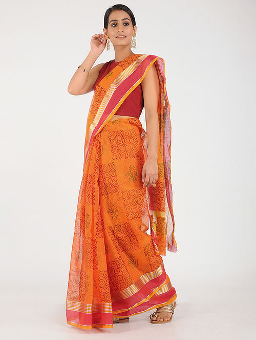 31f1d79f04a7b2 Orange-Pink Block-printed Kota Doria Saree with Zari Printed Sarees