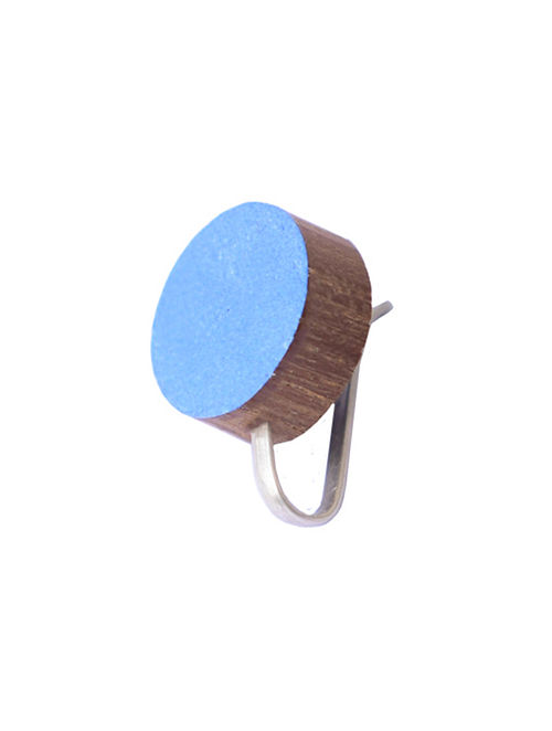 Blue-Brown Teakwood Clip On Nosepin