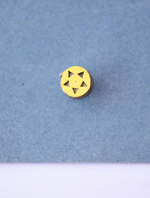 Yellow-Brown Teakwood Clip On Nosepin