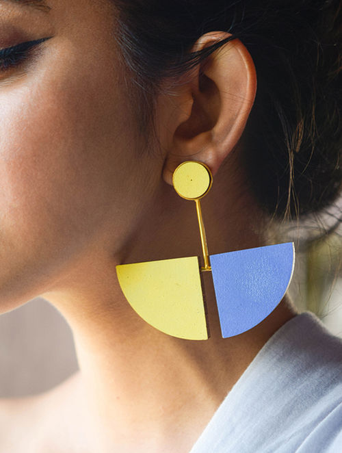 Blue-Yellow Gold Plated Brass and Teakwood Earrings