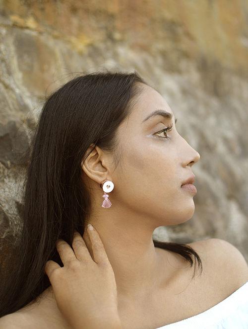 Powder Pink-Ivory Rose Gold Plated Brass and Teakwood Tassel Earrings