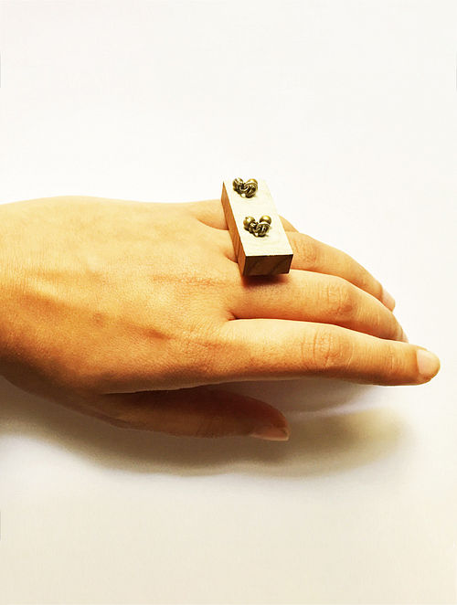 Ivory Wood and Silver Adjustable Ring