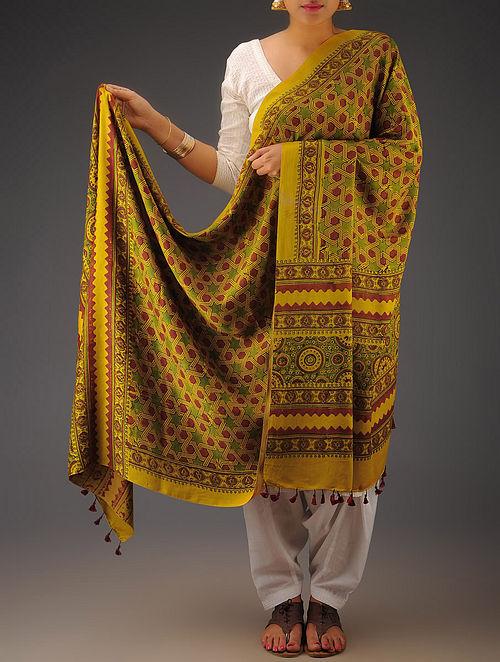 Mustard-Maroon-Green Gajji Silk Ajrakh Printed Dupatta By Jaypore