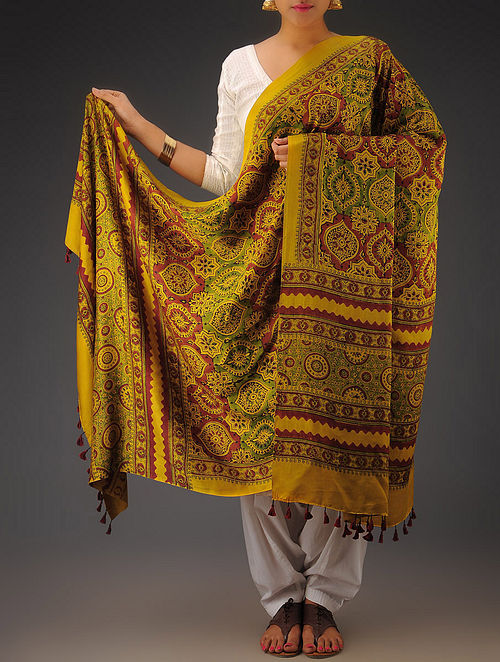 Mustard-Maroon Gajji Silk Ajrakh Printed Dupatta By Jaypore