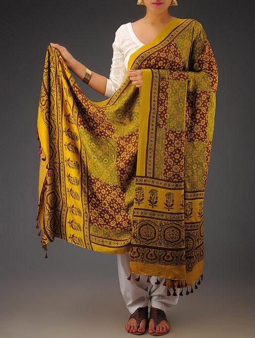 Mustard-Green-Maroon Gajji Silk Ajrakh Printed Dupatta By Jaypore