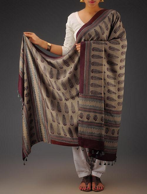 Beige-Maroon Gajji Silk Ajrakh Printed Dupatta By Jaypore