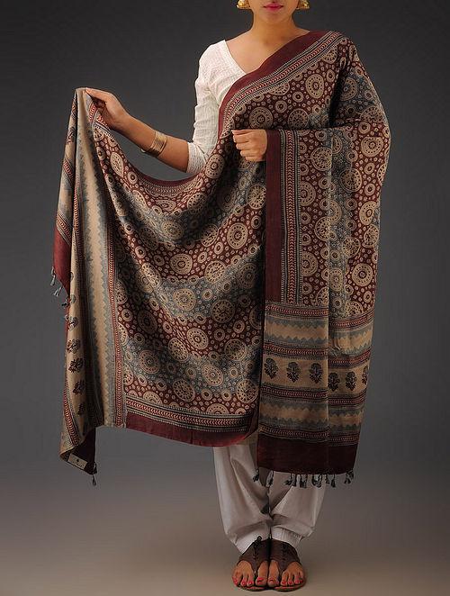 Beige-Indigo-Maroon Gajji Silk Ajrakh Printed Dupatta By Jaypore