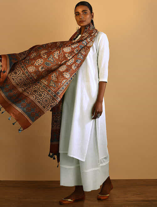 f1694f4188 Rust Ajrakh-printed Silk Cotton Dupatta Apparel, Jewelry, Accessories, And  More