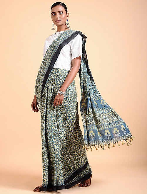 16c50ce9f0 Buy Indigo Ajrakh-printed Cotton Saree with Tassels Online at Jaypore ...
