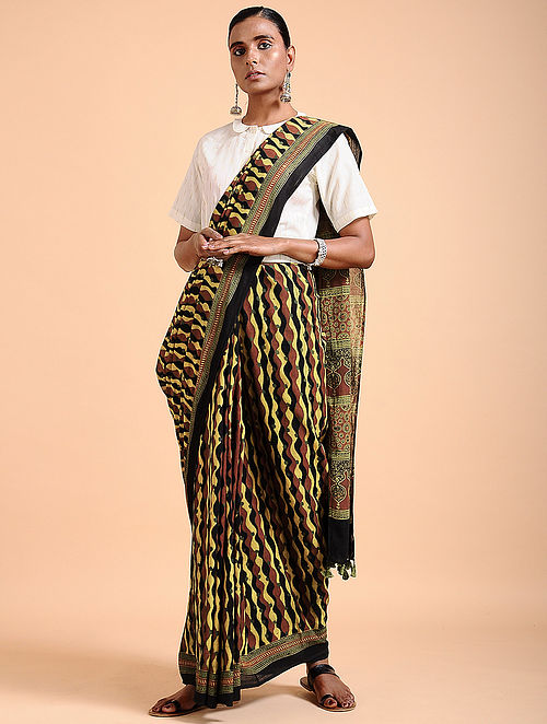 11df7f3a4c Buy Yellow-Madder Ajrakh-printed Cotton Saree with Tassels Online ...