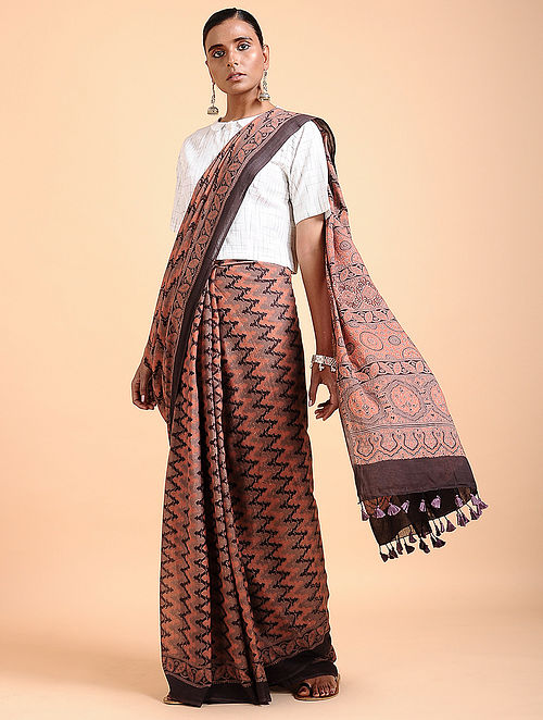 94f82a75a2 Buy Rust Ajrakh-printed Cotton Saree with Tassels Online at Jaypore ...