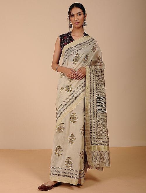 Beige-Black Dabu-printed Silk Cotton Saree with Zari