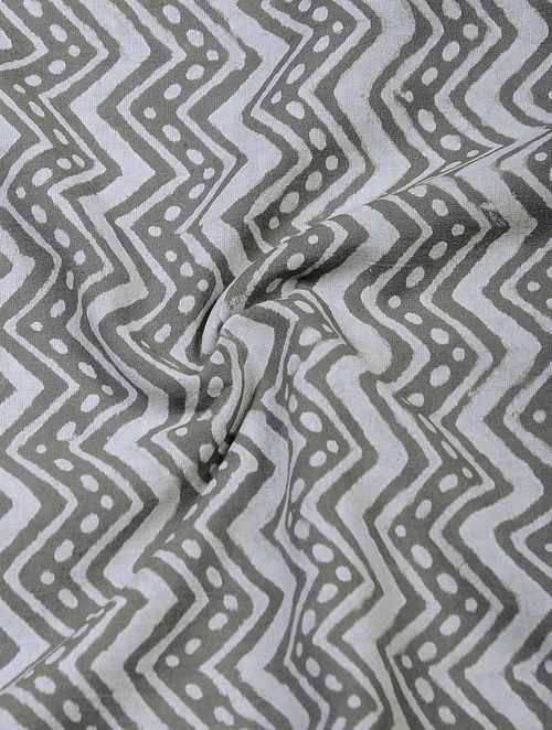 Grey-Ivory Block-printed Mul Cotton Fabric