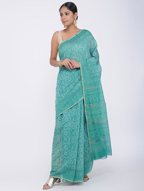 Green Block-printed Silk Cotton Saree