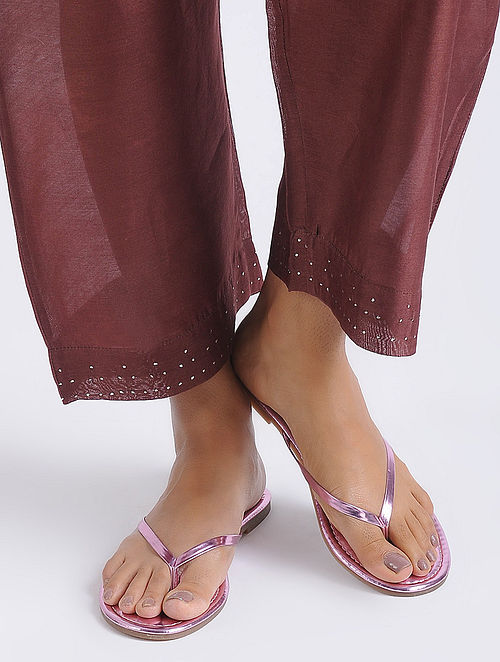 7491d5ea4c70 Pink Metallic Handcrafted Flats Apparel, Jewelry, Accessories, And More