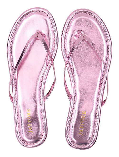 09d8039ab99a53 Buy Pink Metallic Handcrafted Flats Online at Jaypore.com