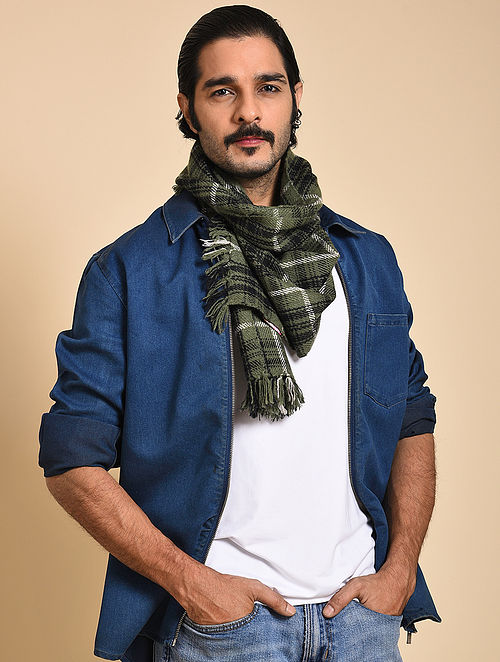 Green-Black Pashmina Mens Muffler