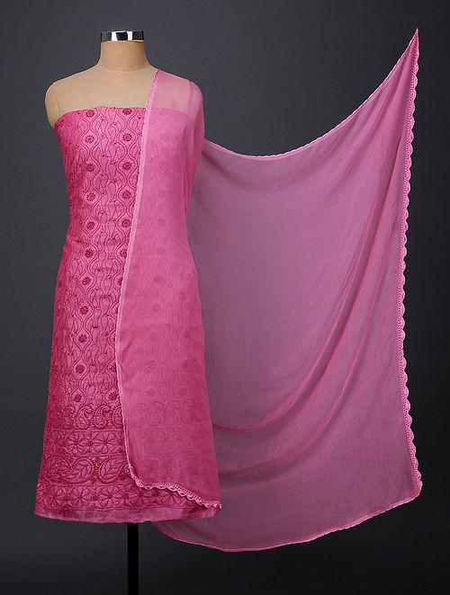 Pink Chikankari Tussar Silk Suit Fabric