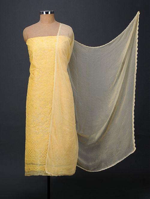 Yellow Chikankari Tussar Silk Suit Fabric