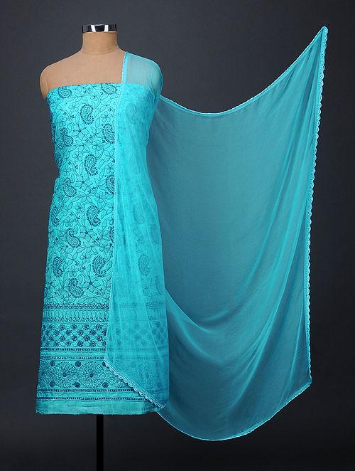 Blue Chikankari Tussar Silk Suit Fabric